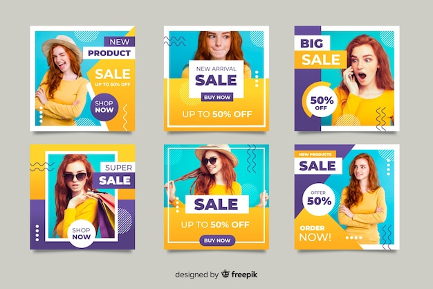 Online collection with promotional offers Free Vector