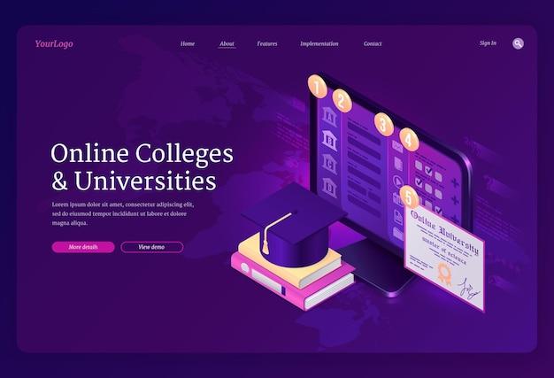 Целевая страница онлайн-колледжей и университетов Бесплатные векторы