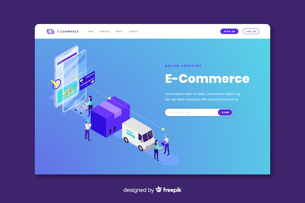 Online commerce landing page template Free Vector
