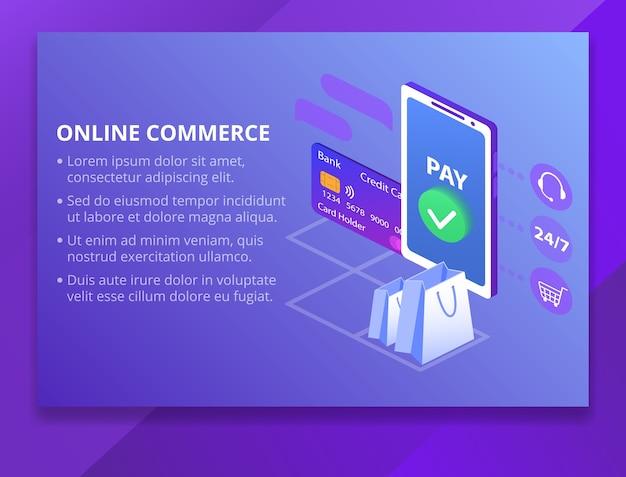 Online commerce technology illustration Free Vector