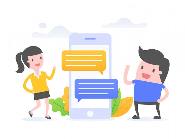 Online communication. Premium Vector