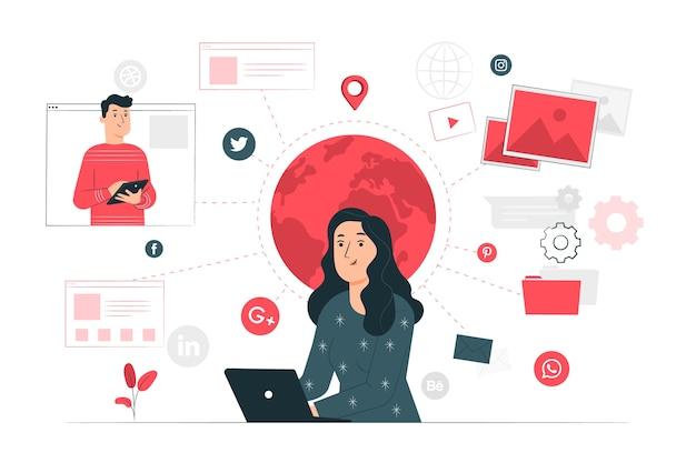 Online concept illustration Free Vector