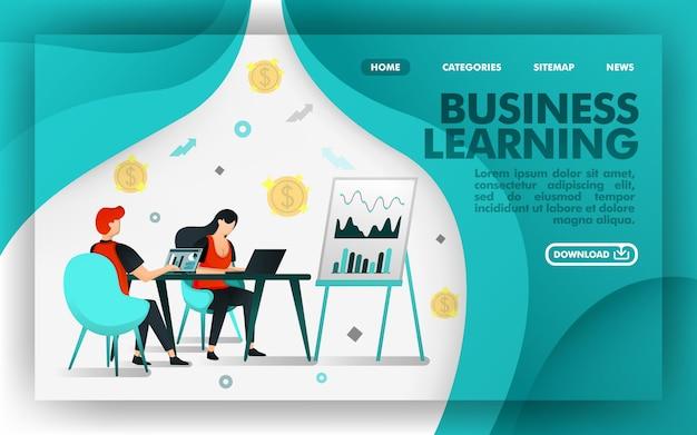 Online concept website business learning Premium Vector