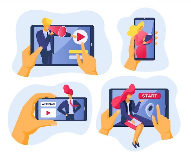 Онлайн конференция и вебинар в интернете, иллюстрация. деловые люди с технологией веб-видео, общение Premium векторы