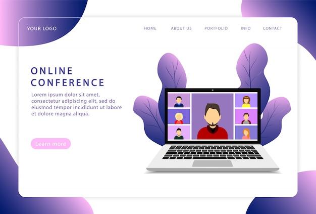 オンライン会議。ビデオ会議。ランディングページ。 webサイトの最新のwebページ。 Premiumベクター