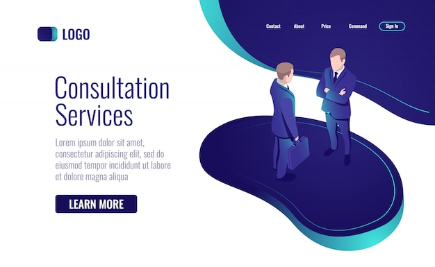 Online consultation, two men talking, to have a dialog, teamwork process Free Vector
