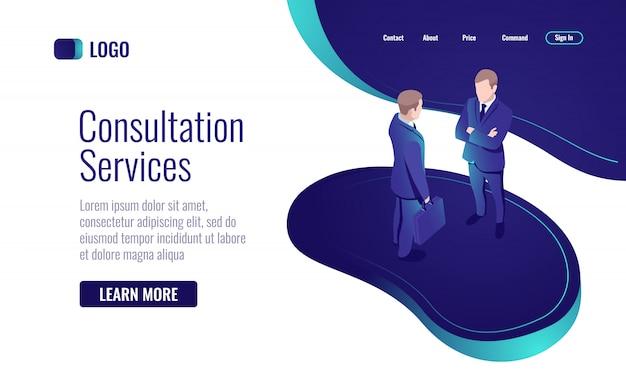Онлайн консультация, разговор двух мужчин, диалог, процесс совместной работы Бесплатные векторы