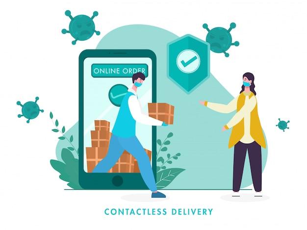 スマートフォンから宅配便の少年が小包を女性に渡し、コロナウイルスを回避するための承認用セキュリティシールドを備えたスマートフォンからのオンライン非接触配達注文。 Premiumベクター