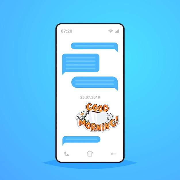 Online conversation mobile chat app sending receiving messages with good morning sticker messenger application communication social media concept smartphone screen Premium Vector
