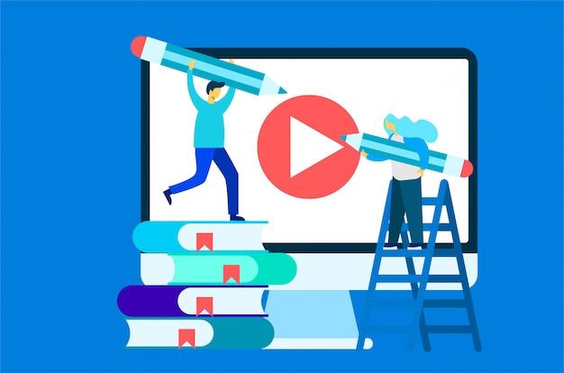 Online course education illustration Premium Vector