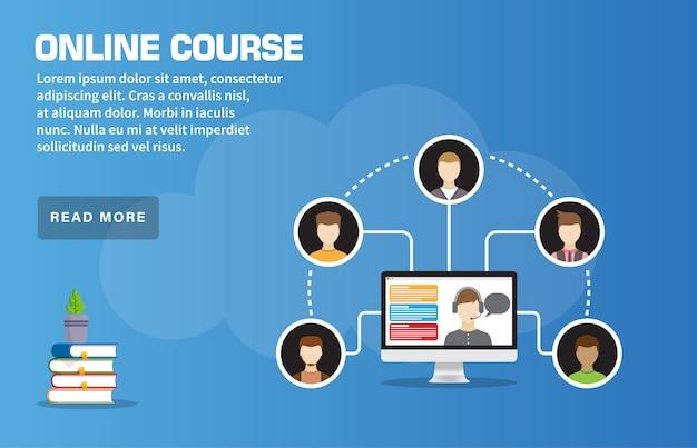 Online course landing page template Premium Vector