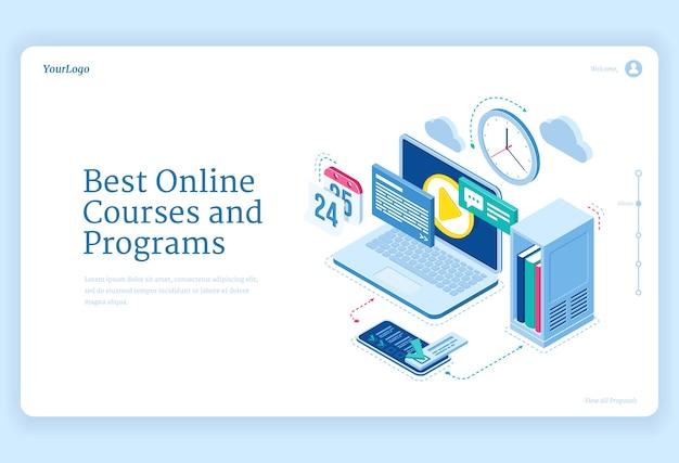 Онлайн-курсы и программы оборудование изометрических посадочных страниц для дистанционного обучения и обучения через интернет Бесплатные векторы
