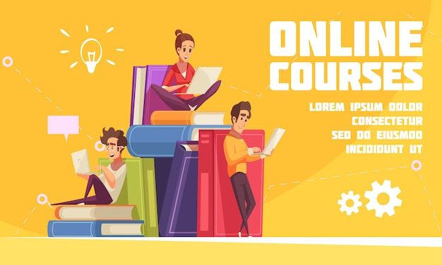 Online courses cartoon advertising web page with students sitting on books pile with laptops notebooks Free Vector