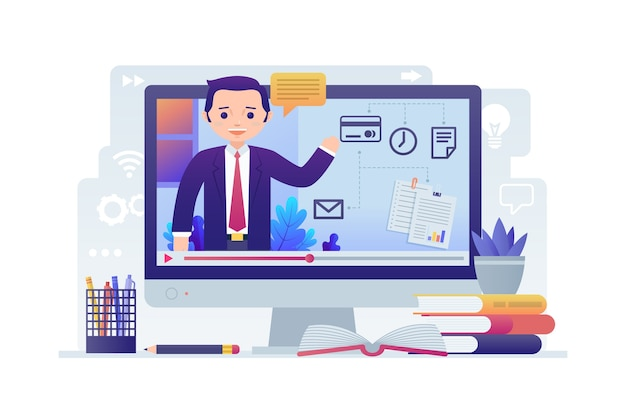 Online courses on computer Premium Vector