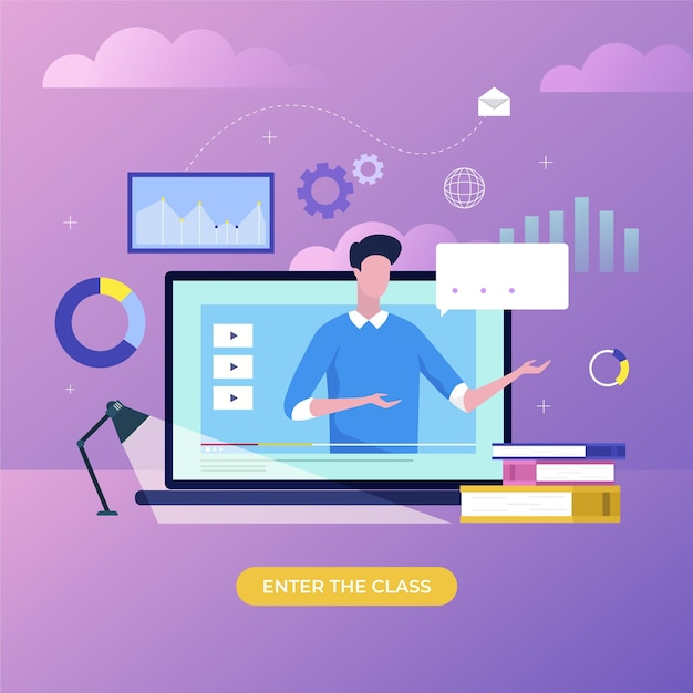 Online courses concept Free Vector