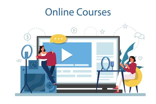 オンラインコース。デジタルトレーニングと遠隔教育。コンピュータを使ってインターネットで勉強する。ビデオウェビナー。漫画スタイルの孤立したイラスト Premiumベクター