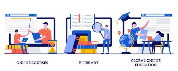 Онлайн-курсы, электронная библиотека, глобальная концепция онлайн-образования с маленькими людьми. набор инструментов электронного обучения. сертификат диплома, доступ к магазину контента, индивидуальное обучение. Premium векторы