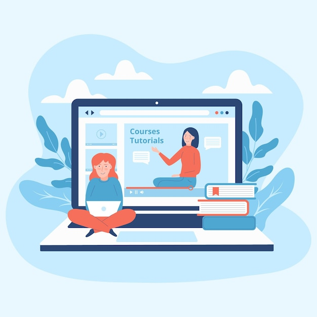 Online courses illustrated design Free Vector