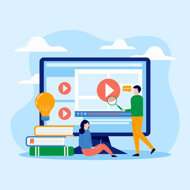 Online courses illustrated theme Free Vector