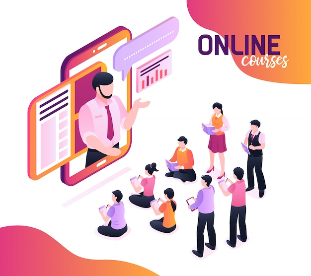 Online courses isometric  with speaking lecturer image in smartphone screen and group of young pupils writing in notebooks Free Vector