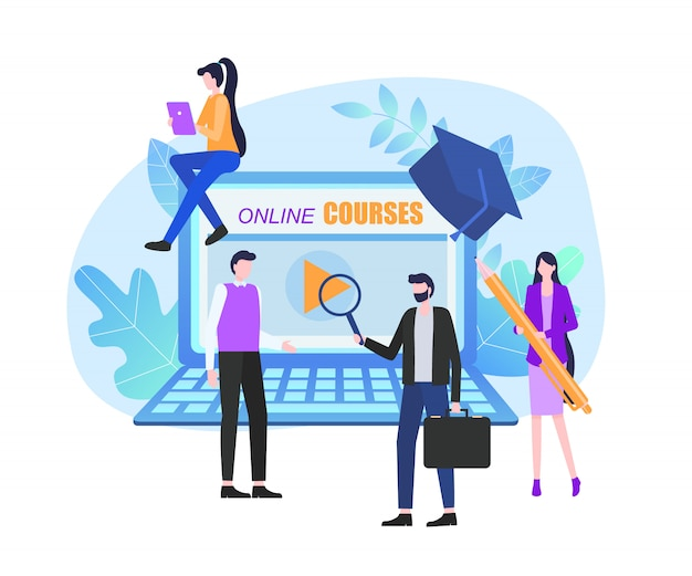 Online courses page notebook screen man woman student Premium Vector