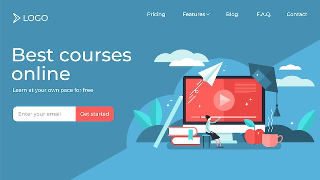 Online courses tiny person vector illustration landing page template design Premium Vector