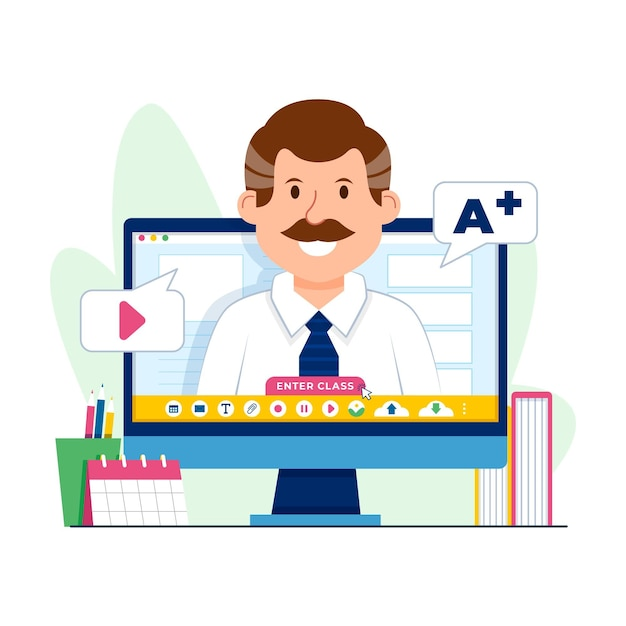 Online courses and tutorials Free Vector