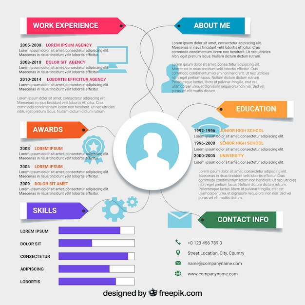 Online Curriculum Vitae In Flat Style Vector Free Download