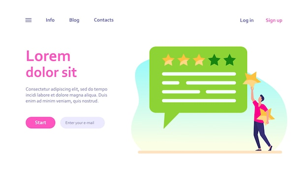 Online customer feedback. man applying rate stars to chat bubble. marketing, satisfaction, evaluation concept for website design or landing web page Free Vector