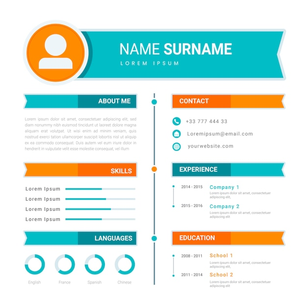 Online cv / resume template design Premium Vector