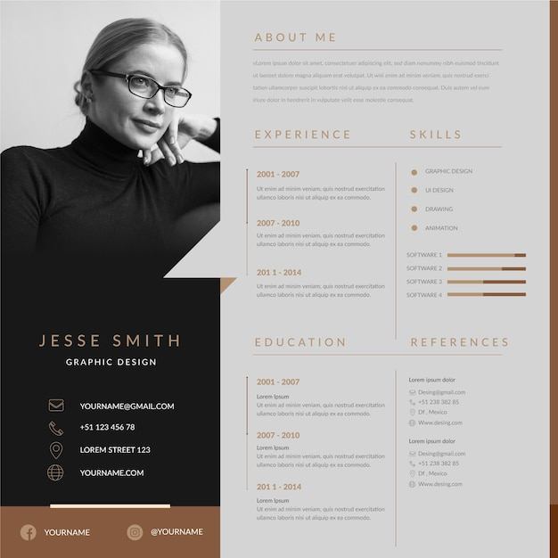 Online cv template with photo Free Vector