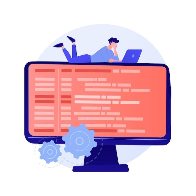 オンラインデータベース、クラウドディスク。データストレージ、情報ベース、コンピュータアプリケーション。 pcユーザー、オペレーターの漫画のキャラクター。モニター画面の情報。 無料ベクター
