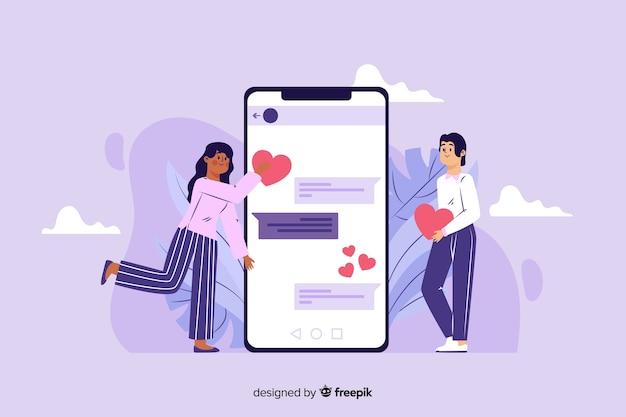Online dating app concept flat design Free Vector