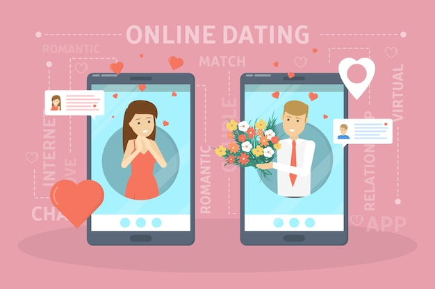 Premium Vector | Online dating app concept. virtual relationship and love. communication between people through network on the smartphone. perfect match. illustration