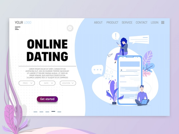 Online dating concept Premium Vector