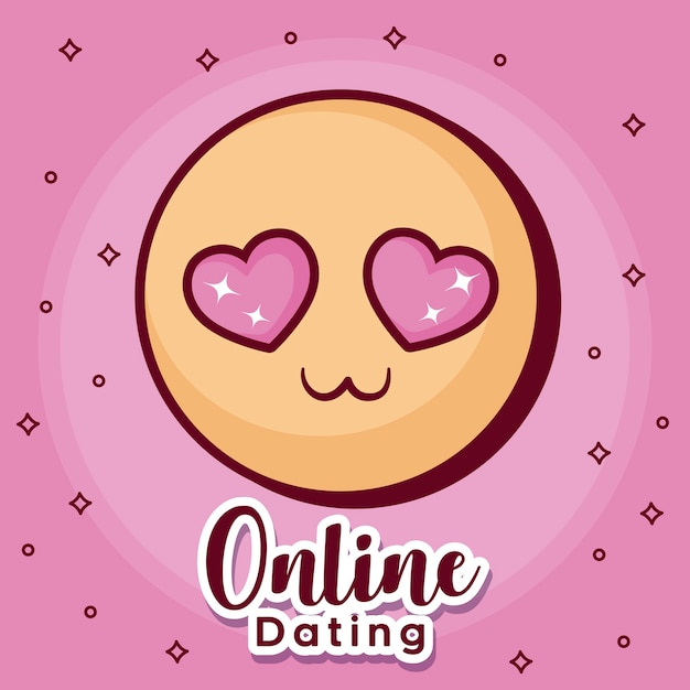 Online dating design with in love emoji icon Vector