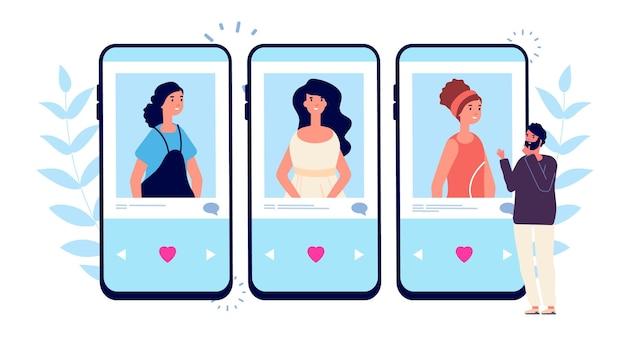 オンラインデート。電話の出会い系アプリでカップルを探している独身男性。男性は女の子のベクトル図から選択します。 Premiumベクター