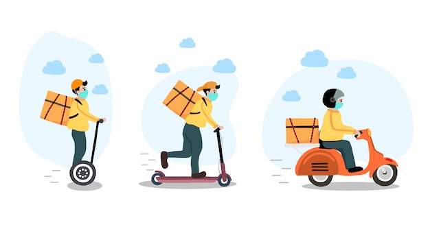 Online delivery contactless service to home,office by bike,motorcycle,scooter. delivery man is wari