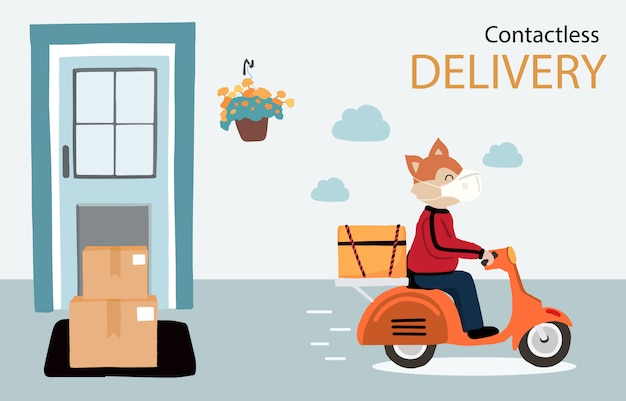 Online delivery contactless service to home,office by motorcycle. delivery animal is waring mark to