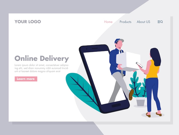 Online delivery illustration for landing page Premium Vector