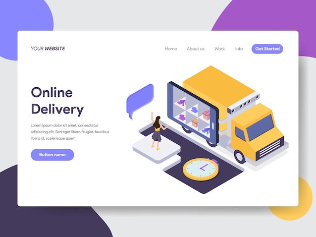Online delivery illustration for web pages Premium Vector