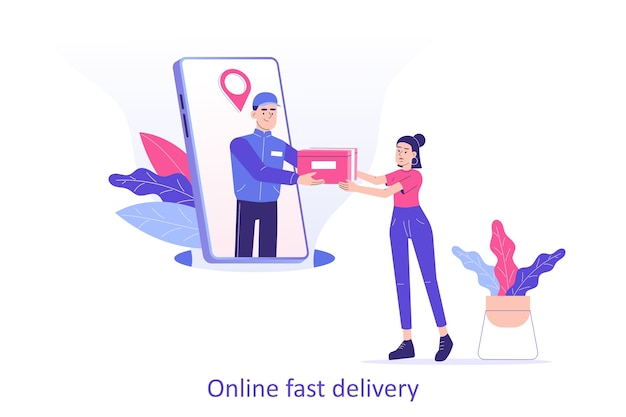 Online delivery man or courier giving a box to woman from smartphone Premium Vector