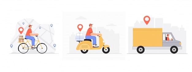 Концепция службы доставки онлайн, доставщик, курьер на велосипеде, самокате, автомобиле, велосипеде. Premium векторы