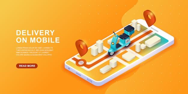 Концепция службы доставки онлайн. быстрая доставка скутером на мобильный. концепция электронной коммерции. Premium векторы