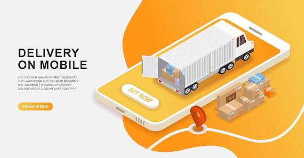 Online delivery service concept, isometric logistics online order on mobile. Premium Vector