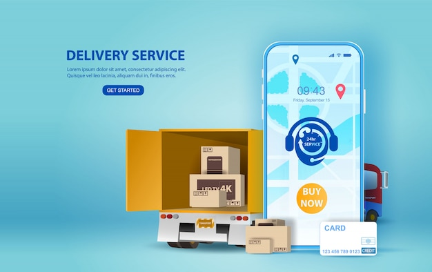 Online delivery service concept, online order tracking,smartphone delivery home and office. Premium