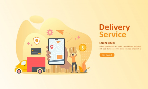 Online delivery service worldwide Premium Vector