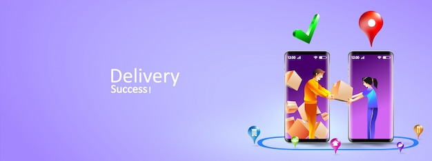 Online delivery services by smartphone. express delivery mobile concept by courier and customer door to door. illustration Premium Vector