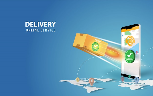 Online delivery smartphone concept idea.fast respond delivery package shipping on mobile. Premium Ve