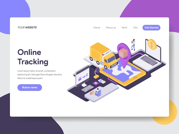 Online delivery tracking isometric illustration Premium Vector